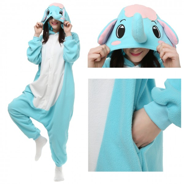 Blue Elephant Onesie Unisex Women & Men Animal Pajama Kigurumi Party Costume
