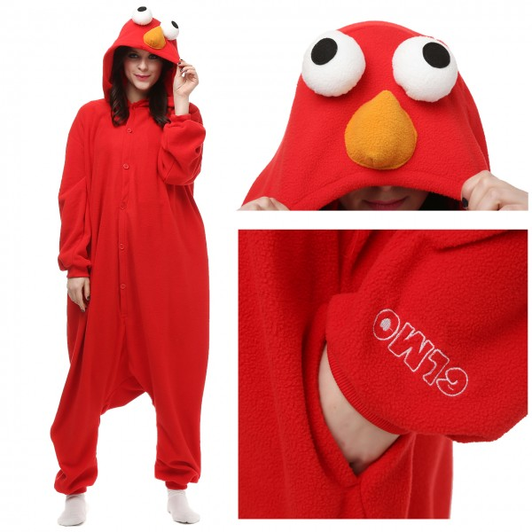 Red Cookie Monster Onesie Unisex Women & Men Kigurumi Animal Pajama Party Costumes