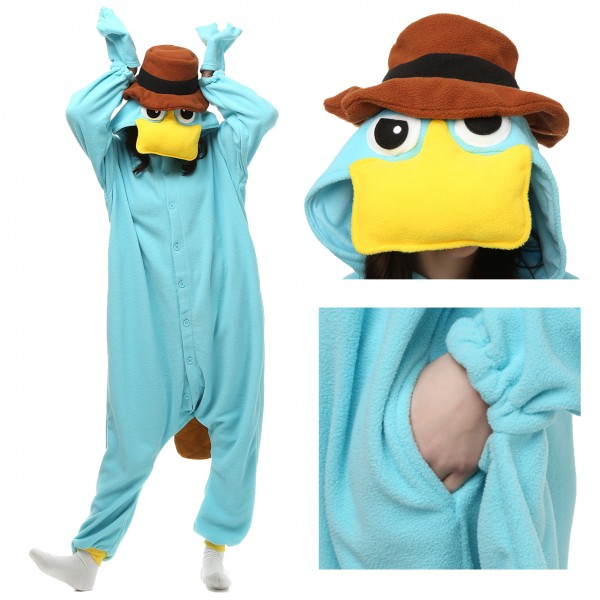 Perry the Platypus Onesie for Adult Disney Phineas and Ferb Party Costumes