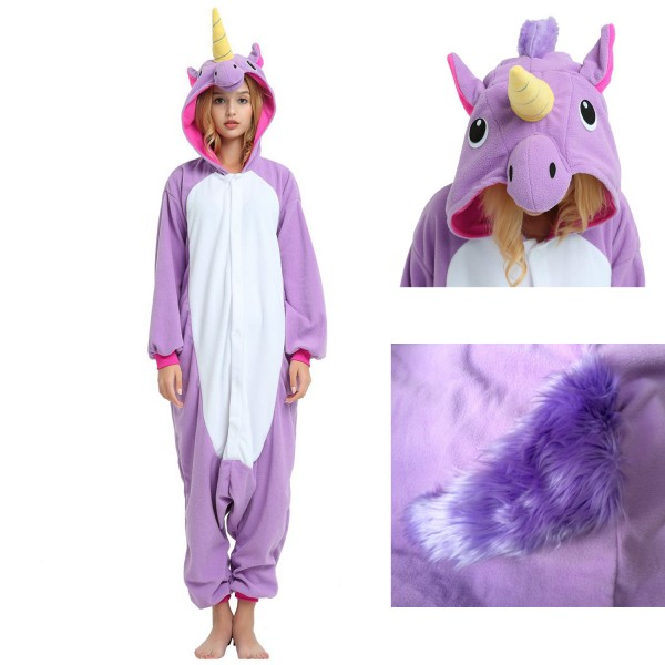 Purple Unicorn Onesie Unisex Women & Men Animal Pajamas Kigurumi Halloween Costumes