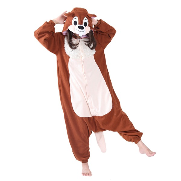 Squirrel Onesie Unisex Women & Men Animal Kigurumi Pajama Halloween Party Costumes