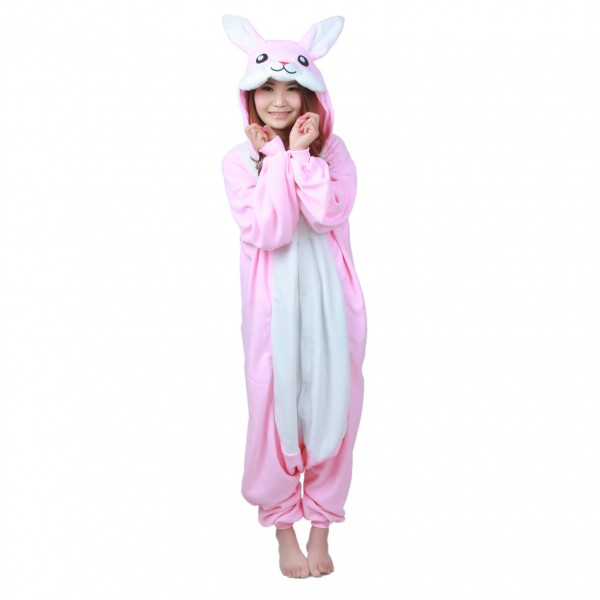 Pink Rabbit Onesie Unisex Women & Men Animal Kigurumi Pajama Halloween Party Costumes