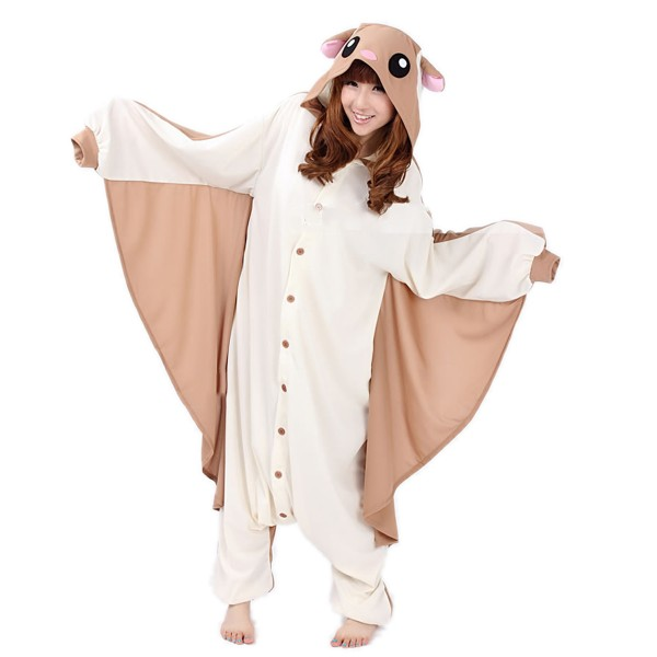 Flying Squirrel Onesie Unisex Women & Men Animal Kigurumi Pajama Halloween Party Costumes