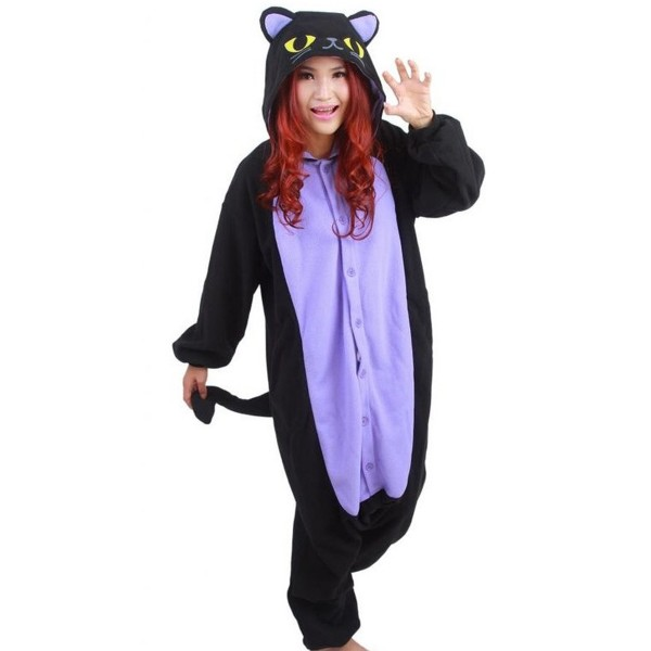 Spooky Black Cat Onesie Unisex Women & Men Animal Kigurumi Pajama Halloween Party Costumes
