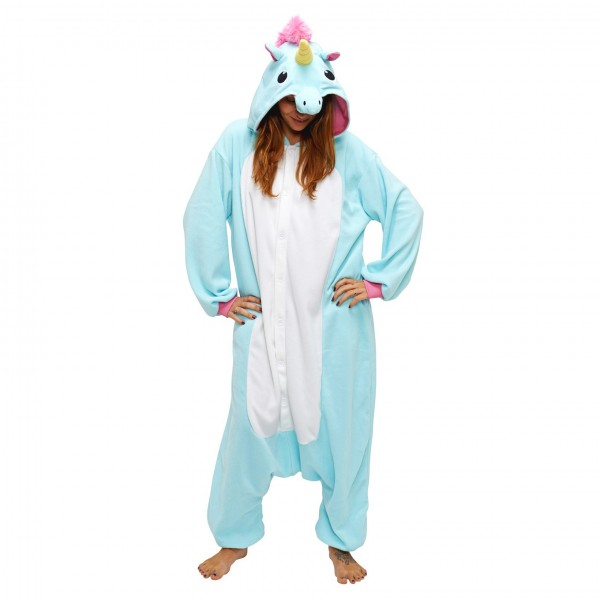 Blue Unicorn Onesie Unisex Women & Men Animal Kigurumi Pajama Halloween Party Costumes