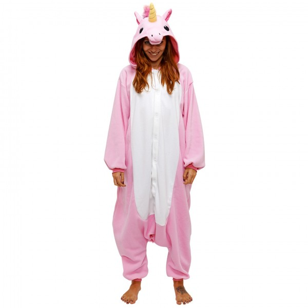Pink Unicorn Onesie Unisex Women & Men Animal Kigurumi Pajama Halloween Party Costumes
