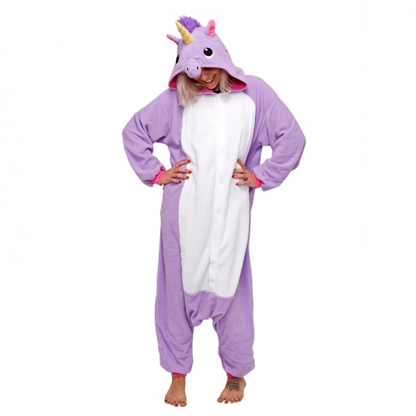 Purple Unicorn Onesie Unisex Women & Men Animal Kigurumi Pajama Halloween Party Costumes