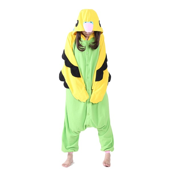 Green Budgie Onesie Unisex Women & Men Animal Kigurumi Pajama Halloween Party Costumes