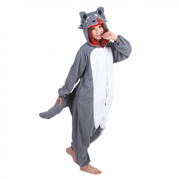 Grey Wolf Onesie Unisex Women & Men Animal Kigurumi Pajama Halloween Party Costumes