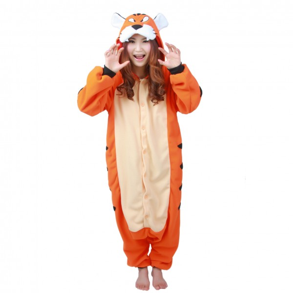Tiger Onesie Unisex Women & Men Animal Kigurumi Pajama Halloween Party Costumes