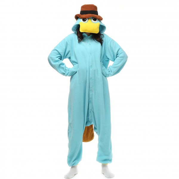 Perry the Platypus Onesie Unisex Women & Men Pajama Disney Phineas and Ferb Party Costumes