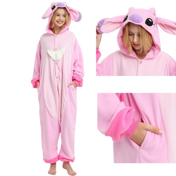 Angel Stitch Onesie Unisex Women & Men Disney Kigurumi Pajamas Party Halloween Costumes