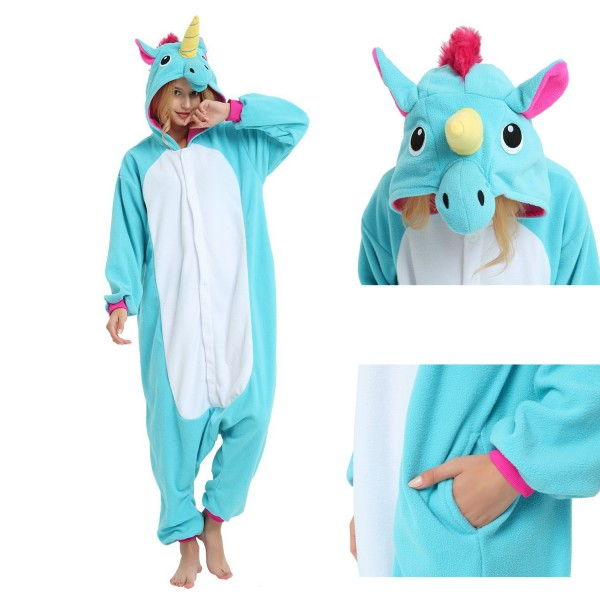 Blue Unicorn Onesie Unisex Women & Men Animal Pajamas Kigurumi Halloween Costumes