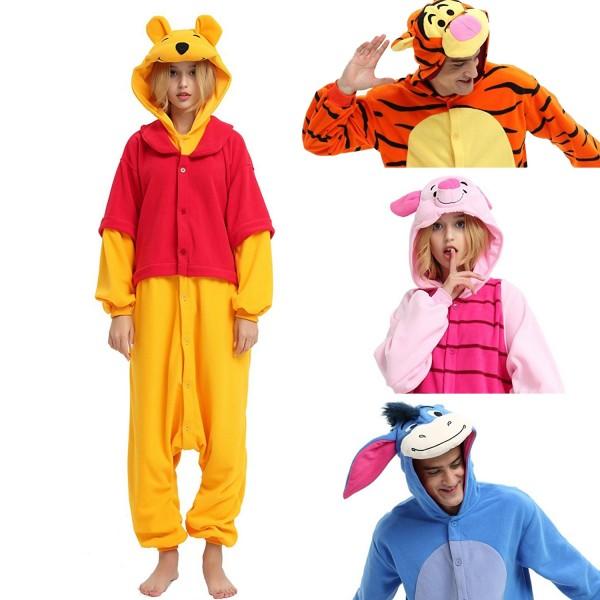 Winnie the Pooh & Tigger & Piglet & Eeyore Onesies for Adult Kigurumi Pajama