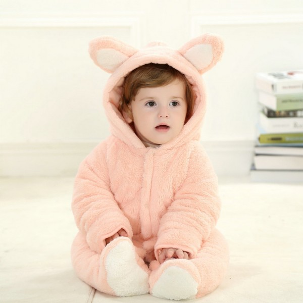Pink Rabbit Onesie for Baby & Toddler Animal Kigurumi Pajama Halloween Costumes