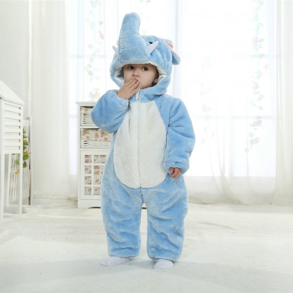 Blue Elephant Onesie for Baby & Toddler Animal Kigurumi Pajama Halloween Costumes
