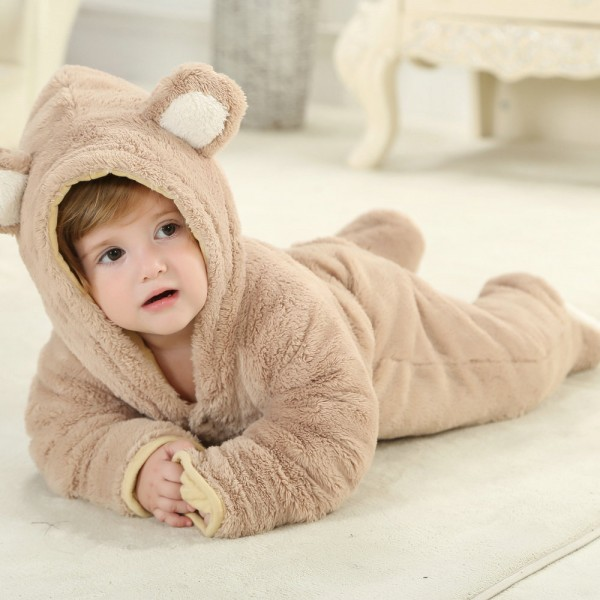 Brown Bear Onesie for Baby & Toddler Animal Kigurumi Pajama Halloween Costumes