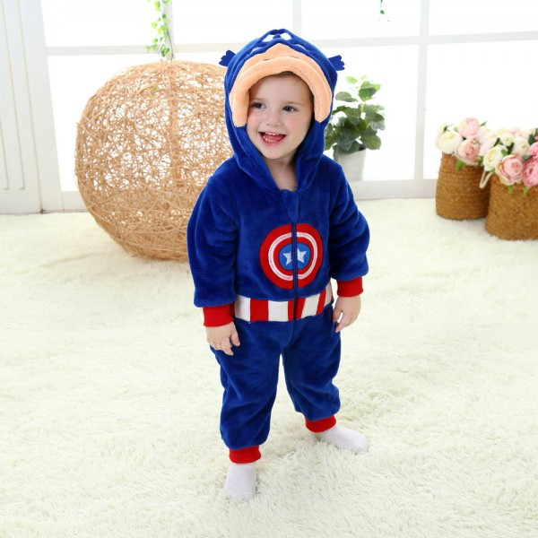 Captain America Onesie for Baby & Toddler Animal Kigurumi Pajama Halloween Costumes
