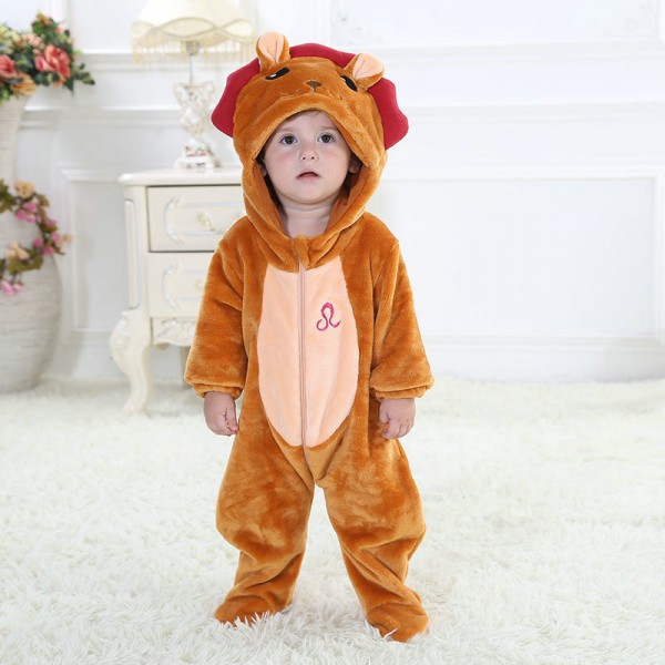 Leo Onesie for Baby & Toddler Animal Constellation Kigurumi Pajama Party Costumes