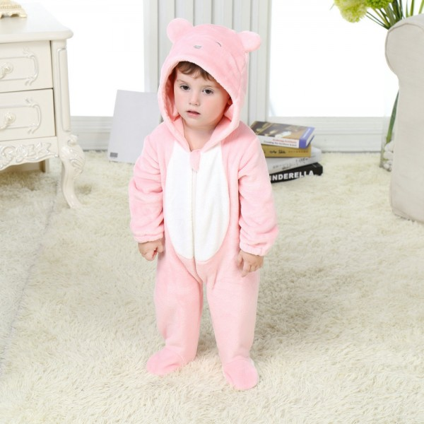 Pink Bear Onesie for Baby & Toddler Animal Kigurumi Pajama Halloween Costumes