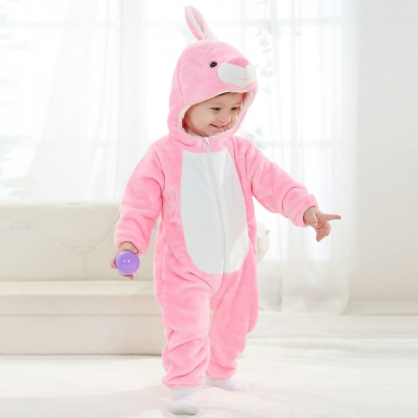 Pink Rabbit Onesie for Baby & Toddler Animal Kigurumi Pajama Halloween Costumes
