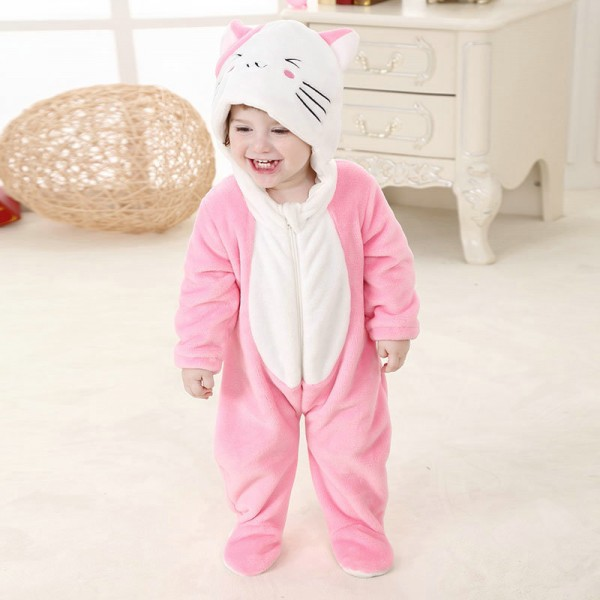Pink Cat Onesie for Baby & Toddler Animal Kigurumi Pajama Halloween Costumes