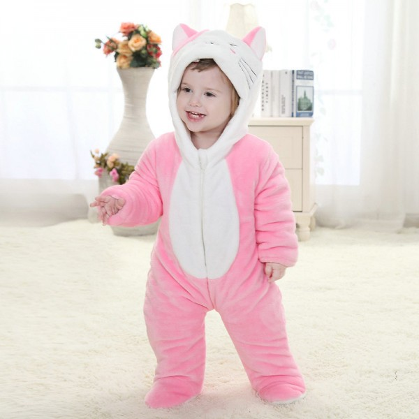 Pink Cat Onesie for Baby & Toddler Animal Kigurumi Pajama Party Costumes