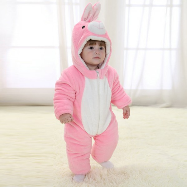 Pink Rabbit Onesie for Baby & Toddler Animal Kigurumi Pajama Party Costumes