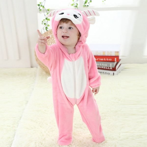 Pink Goat Onesie for Baby & Toddler Animal Kigurumi Pajama Party Costumes