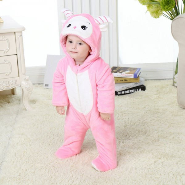 Pink Goat Onesie for Baby & Toddler Animal Kigurumi Pajama Halloween Costumes