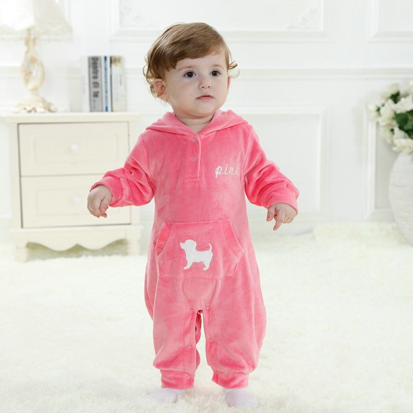 Pink Dog Onesie for Baby & Toddler Animal Kigurumi Pajama Party Costumes