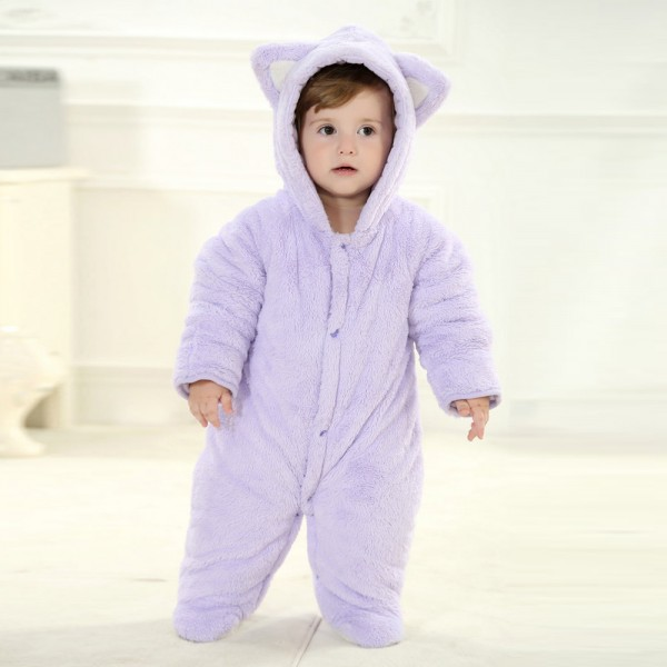 Purple Bear Onesie for Baby & Toddler Animal Kigurumi Pajama Party Costumes