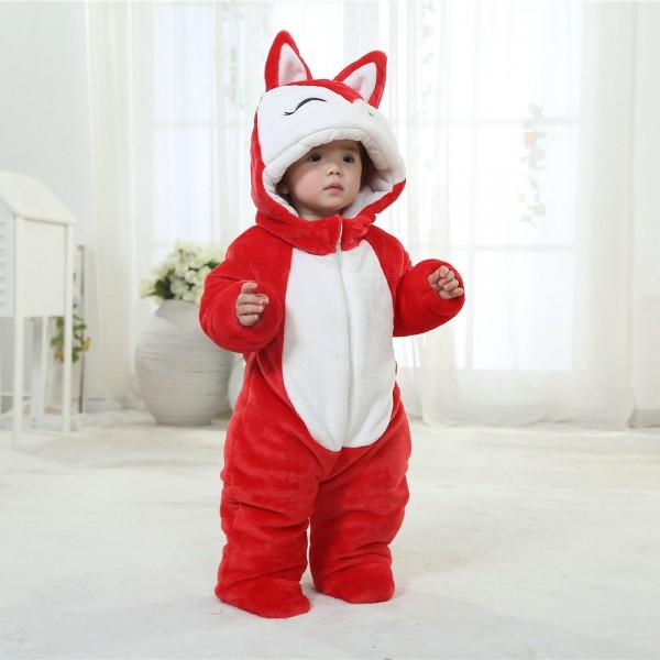 Red Fox Onesie for Baby & Toddler Animal Kigurumi Pajama Party Costumes
