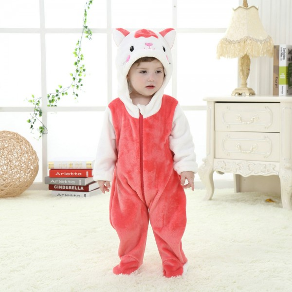 Red Cat Onesie for Baby & Toddler Animal Kigurumi Pajama Party Costumes