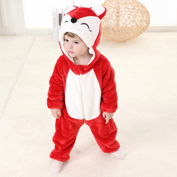 Red Fox Onesie for Baby & Toddler Animal Kigurumi Pajama Halloween Costumes