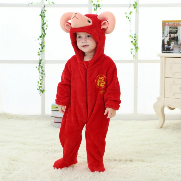 Red Argali Sheep Onesie for Baby & Toddler Animal Kigurumi Pajama Halloween Costumes