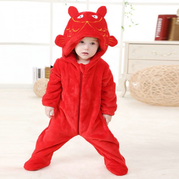 Red Carp Onesie for Baby & Toddler Animal Kigurumi Pajama Halloween Costumes