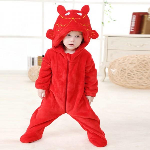 Red Carp Onesie for Baby & Toddler Animal Kigurumi Pajama Halloween Costumes
