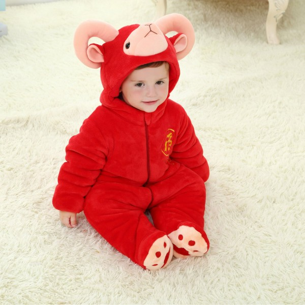 Red Argali Sheep Onesie for Baby & Toddler Animal Kigurumi Pajama Party Costumes