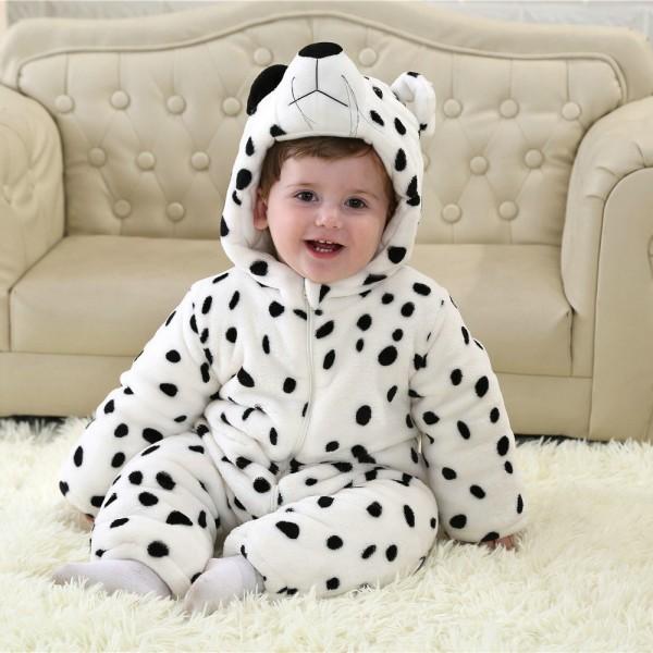 White Leopard Onesie for Baby & Toddler Animal Kigurumi Pajama Halloween Costumes