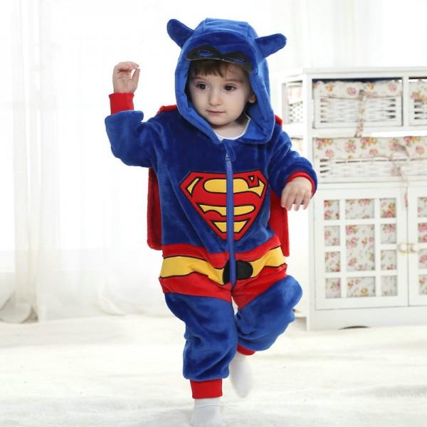90ef6eb885 Superman Onesie for Baby   Toddler Kigurumi Pajama Cosplay Halloween  Costumes