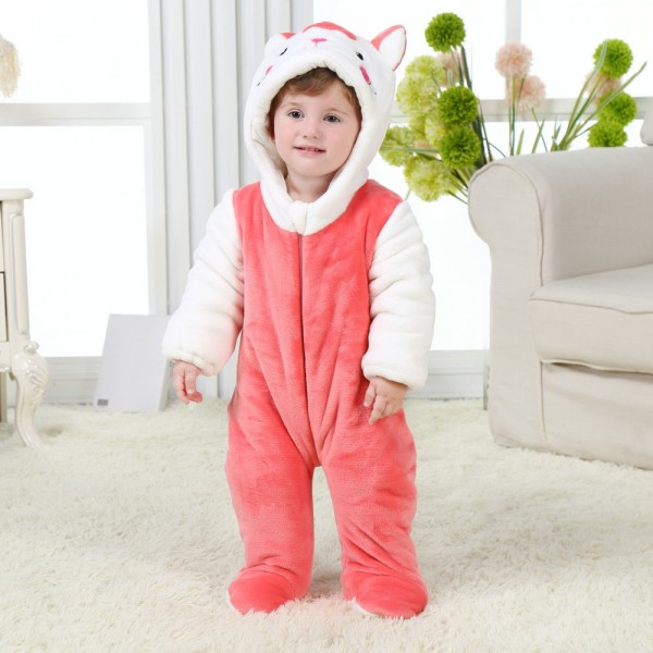Red Cat Onesie for Baby & Toddler Animal Kigurumi Pajama Halloween Party Costumes