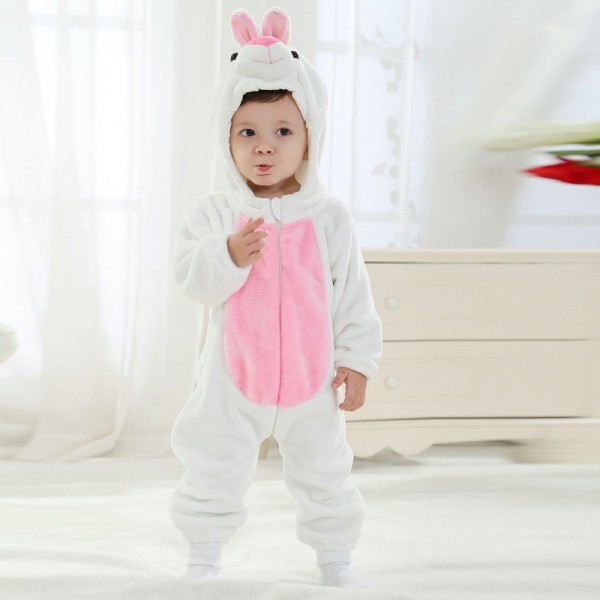 White Rabbit Onesie for Baby & Toddler Animal Kigurumi Pajama Halloween Costumes