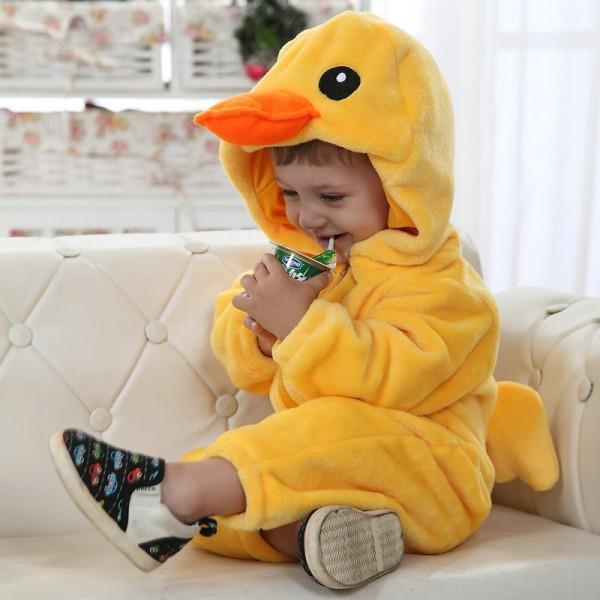 Rubber Duck Onesie for Baby & Toddler Animal Kigurumi Pajama Halloween Costumes