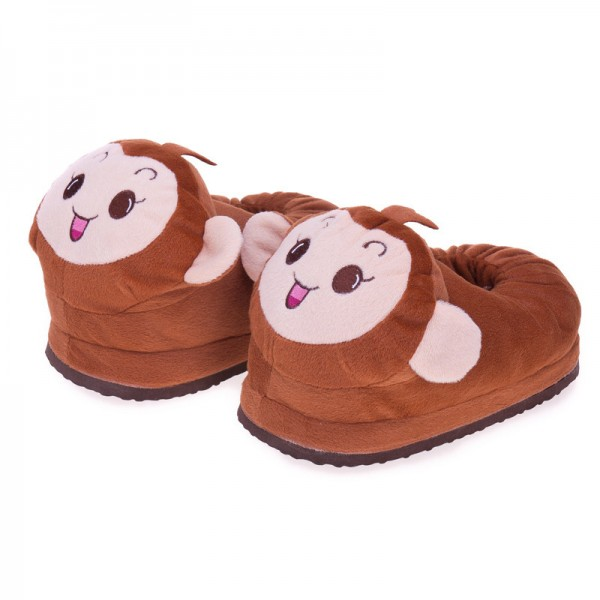 Super Cute Matching Mom and Daughter Cozy Warm Plush Happy Monkey Indoor Slip On House Slippers