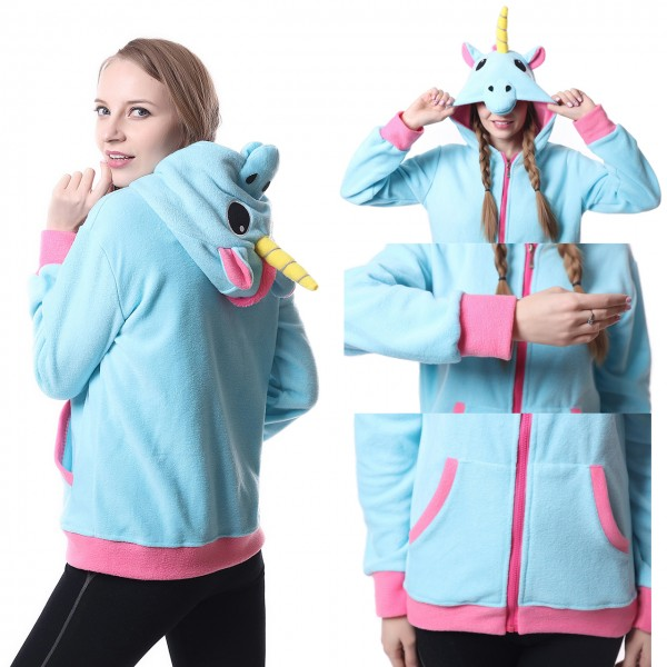 Blue Unicorn Hoodie Unisex Women & Men Animal Kigurumi Coat Jacket