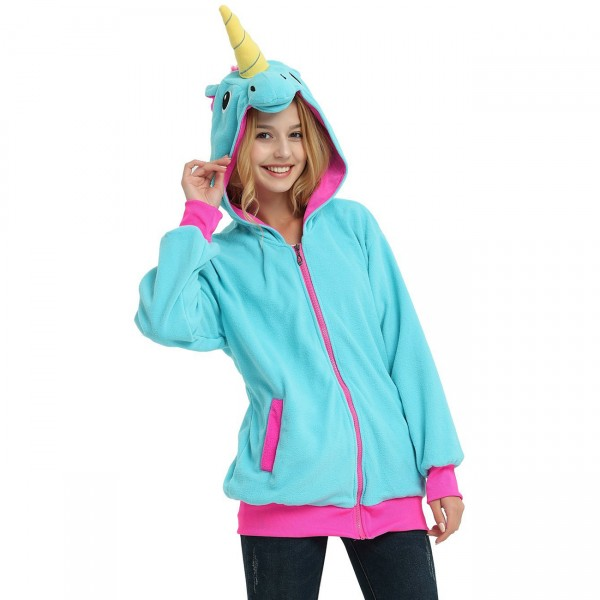 Blue Unicorn Hoodie for Adult Animal Kigurumi Coat Jacket