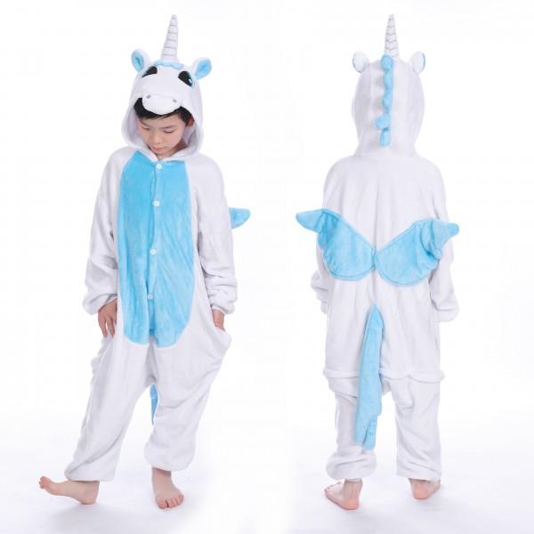 Blue Pegasus Onesie for Kid Animal Kigurumi Pajama Halloween Costumes