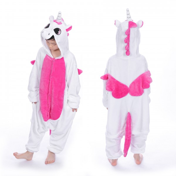 Pink Pegasus Onesie for Kid Animal Kigurumi Pajama Halloween Costumes
