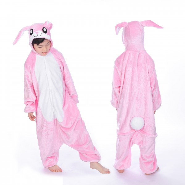 Pink Rabbit Onesie for Kid Animal Kigurumi Pajama Halloween Costumes